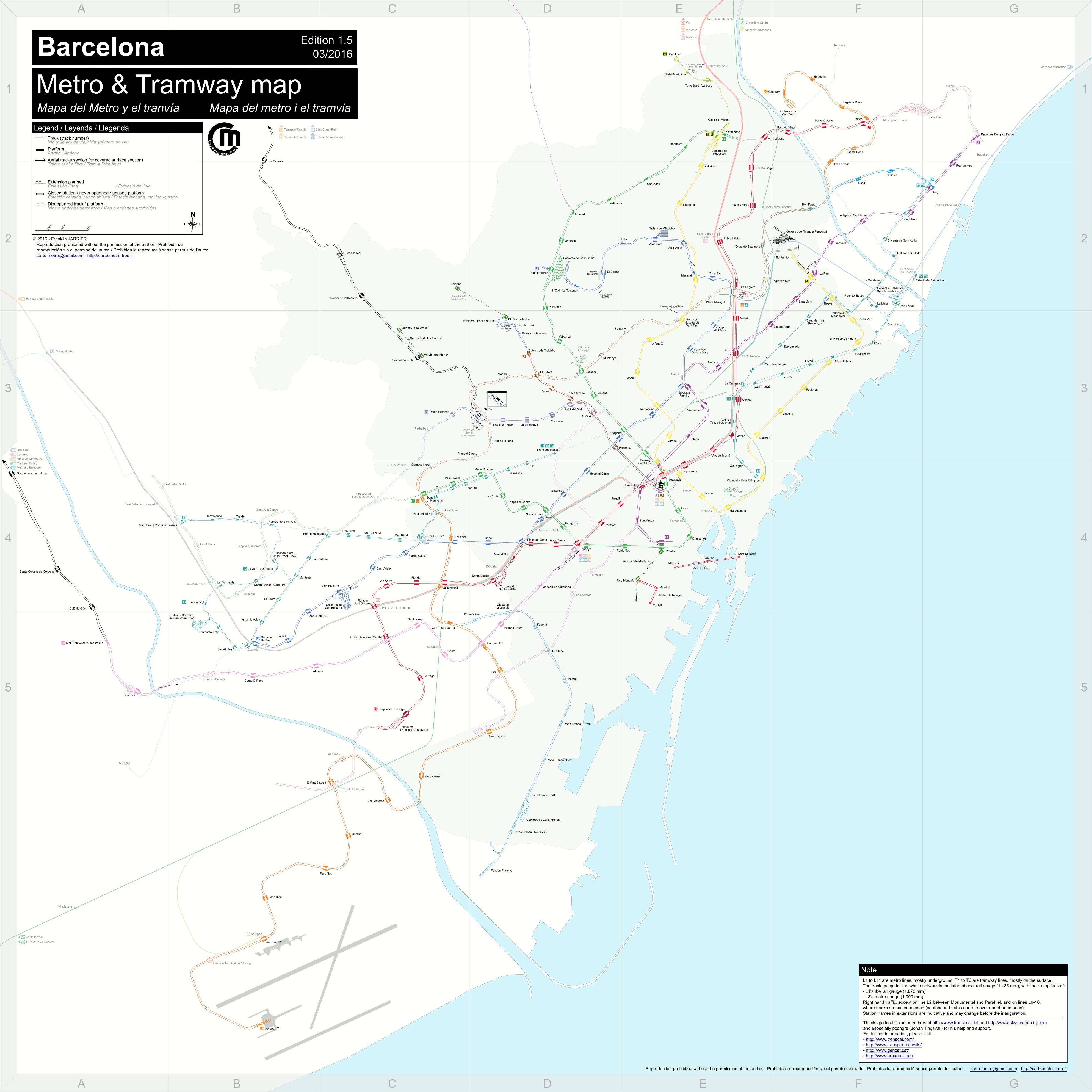 Cartes dtailles Plan du mtro et tramway de Barcelone voies et