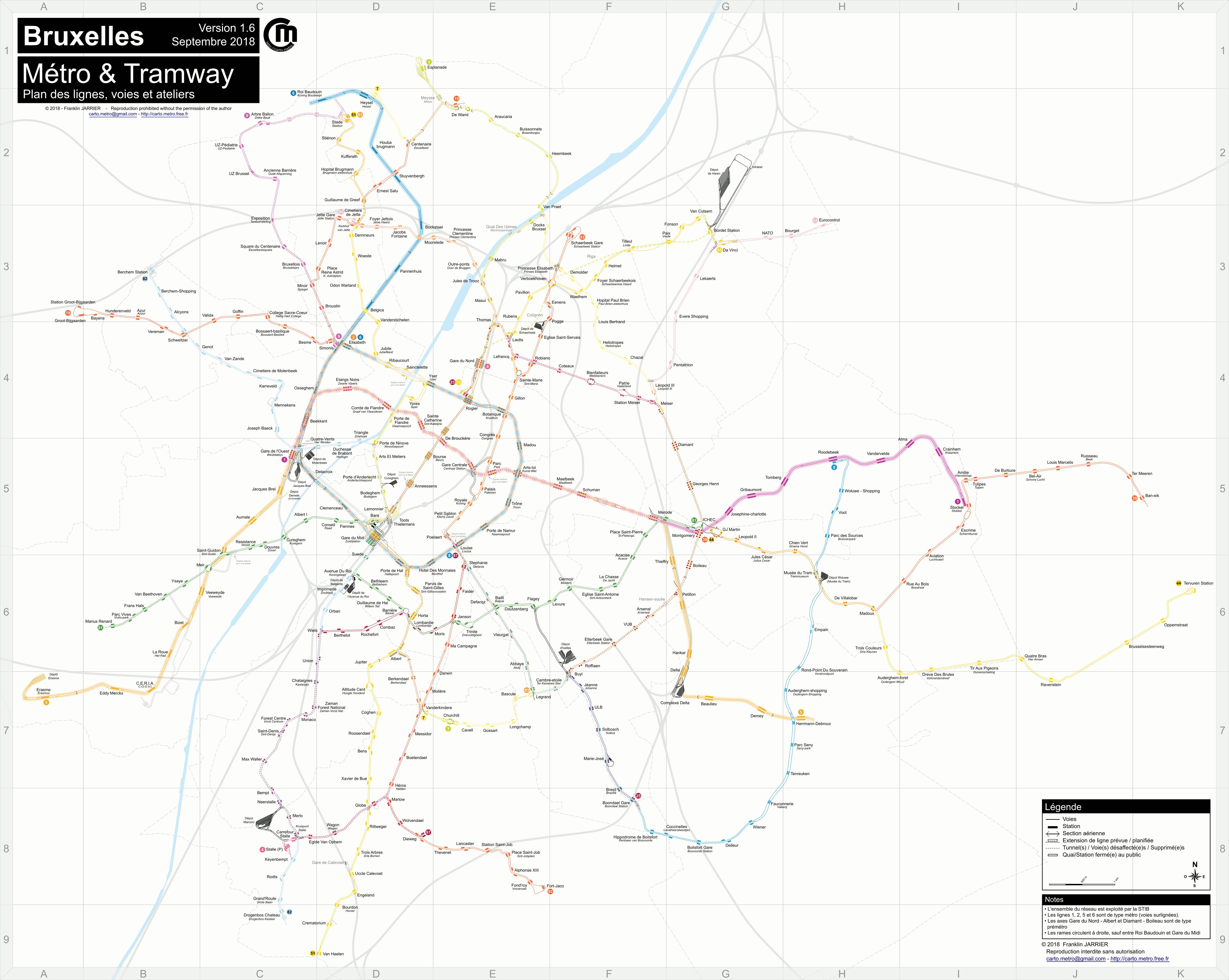 Carte détaillée du métro et tramway de Bruxelles (voies, ateliers)