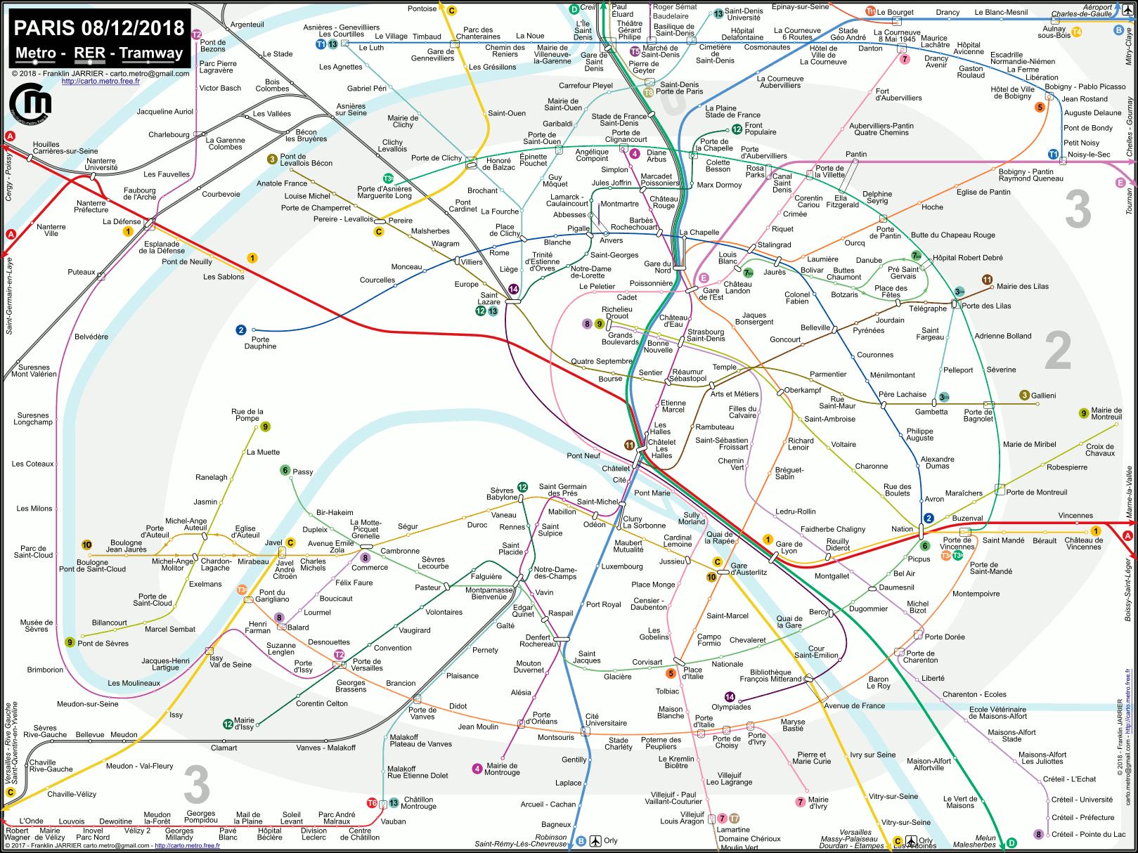 La Metro Map 2018.Plan Du Voyageur Metro Tram Rer