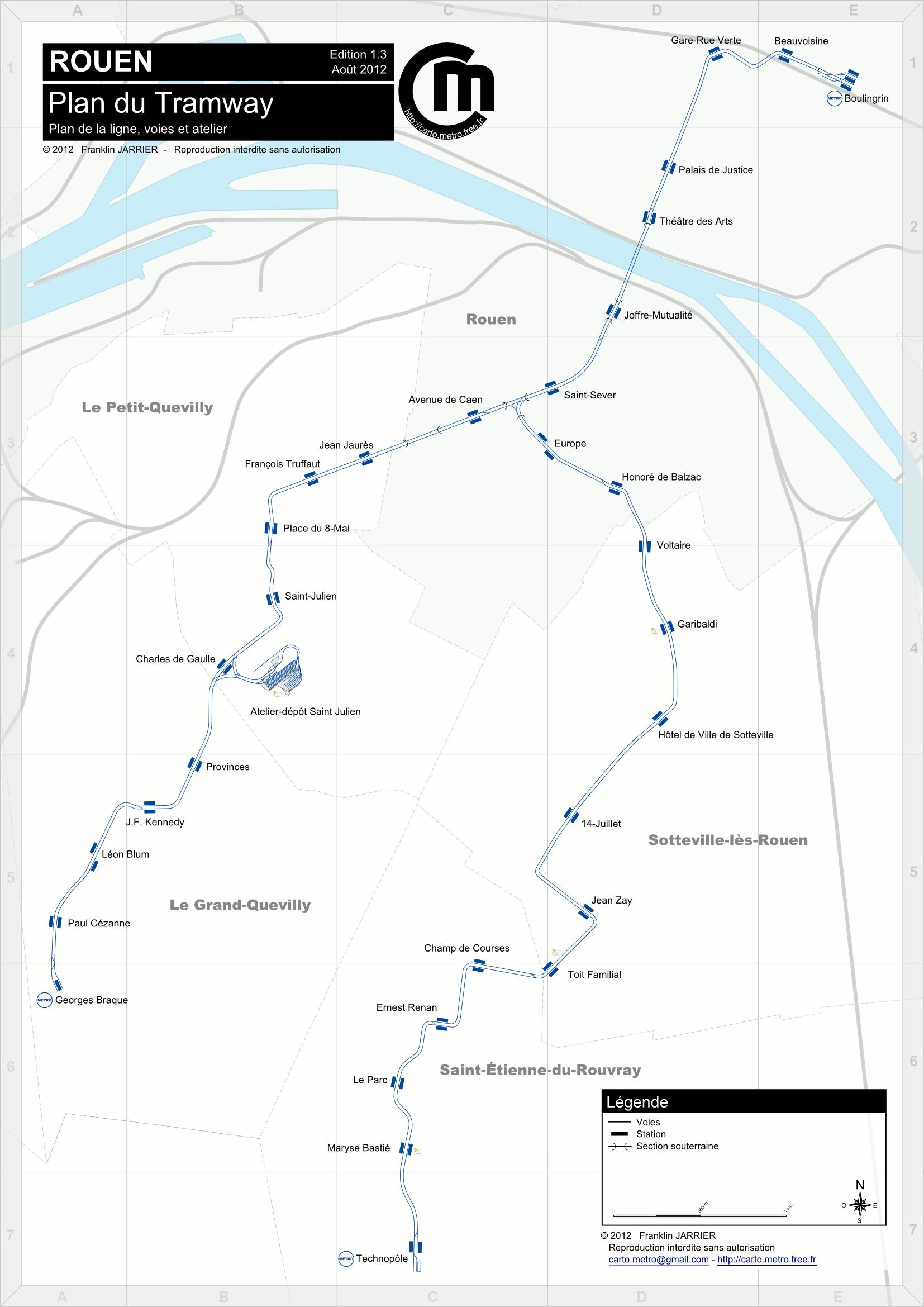 Cartes D 233 Taill 233 Es Plan Du Tramway De Rouen Voies Et